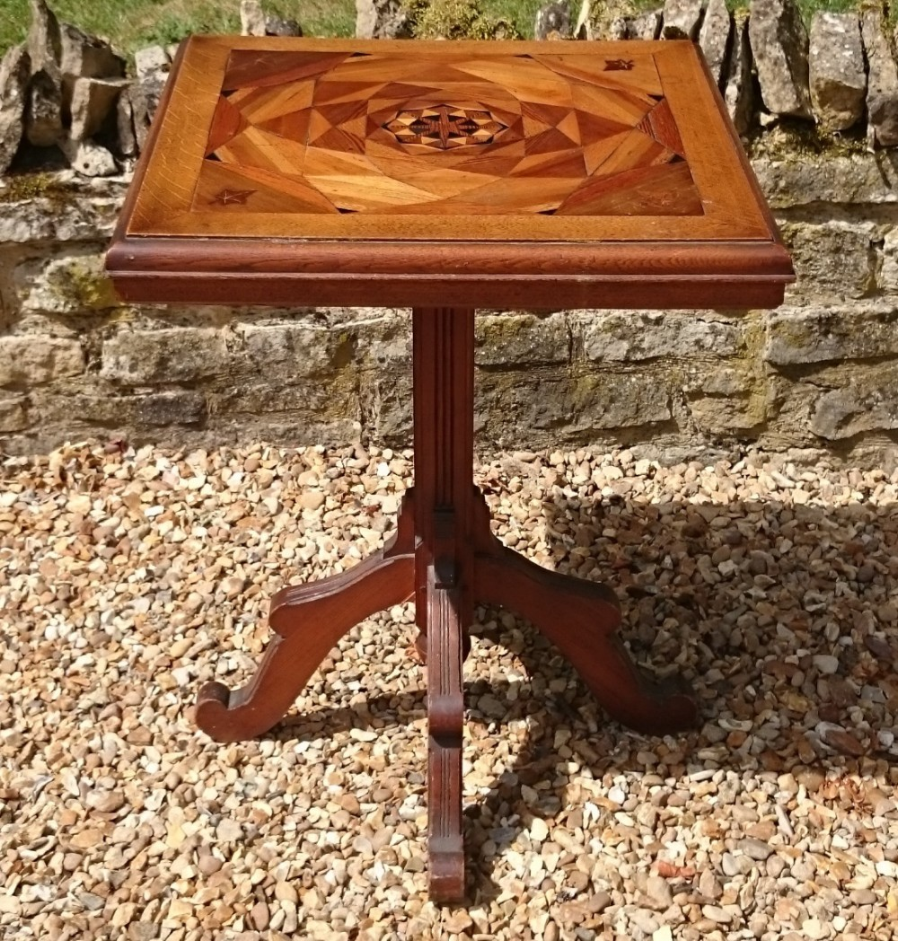 19th century arts and crafts table with inlaid top