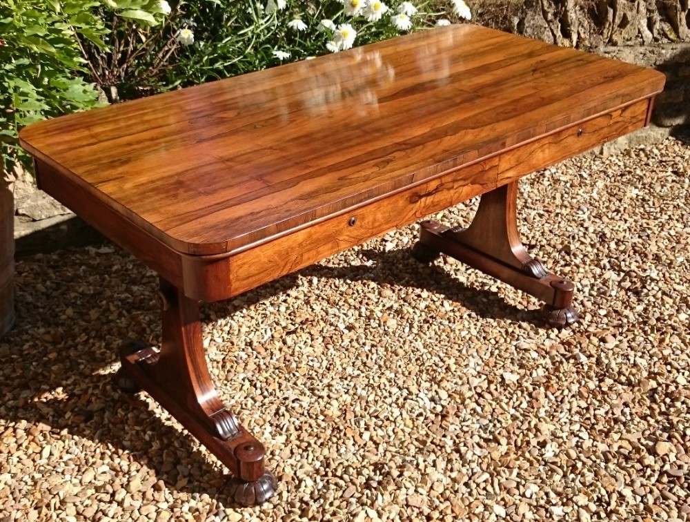 important 19th century william iv period rosewood library table
