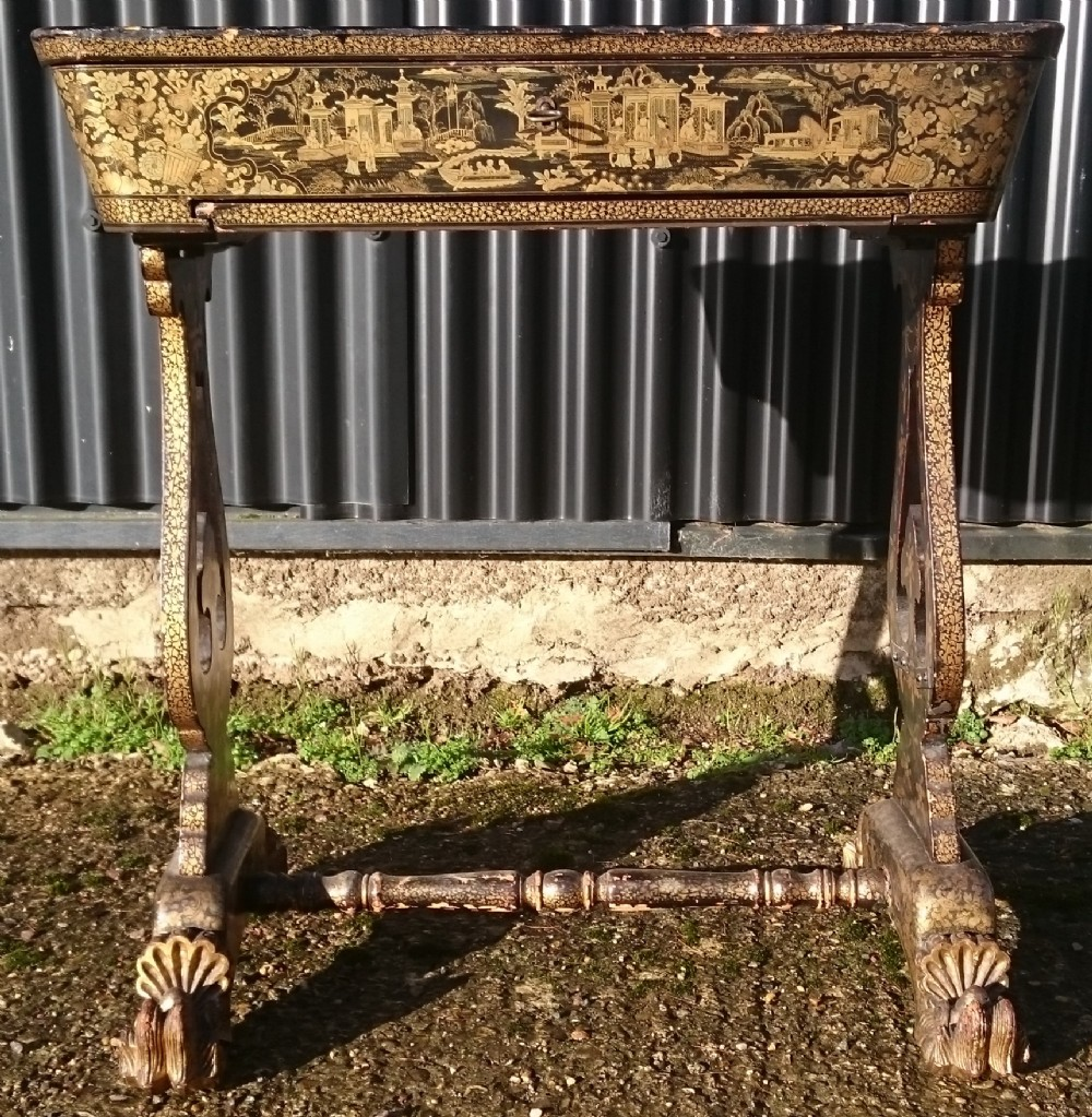 early 19th century chinoiserie lacquer work table