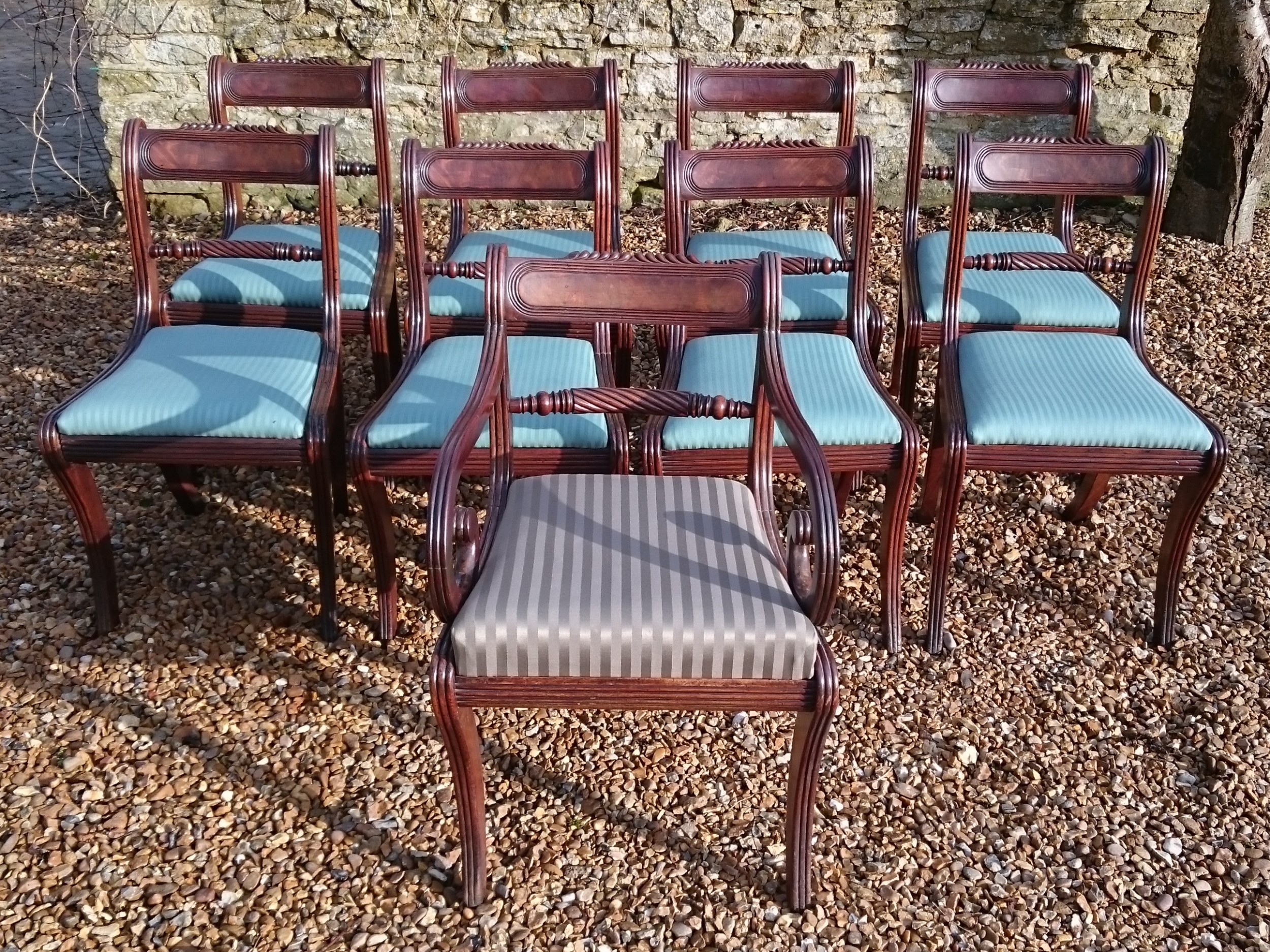 set of 9 early 19th century regency period mahogany antique dining chairs