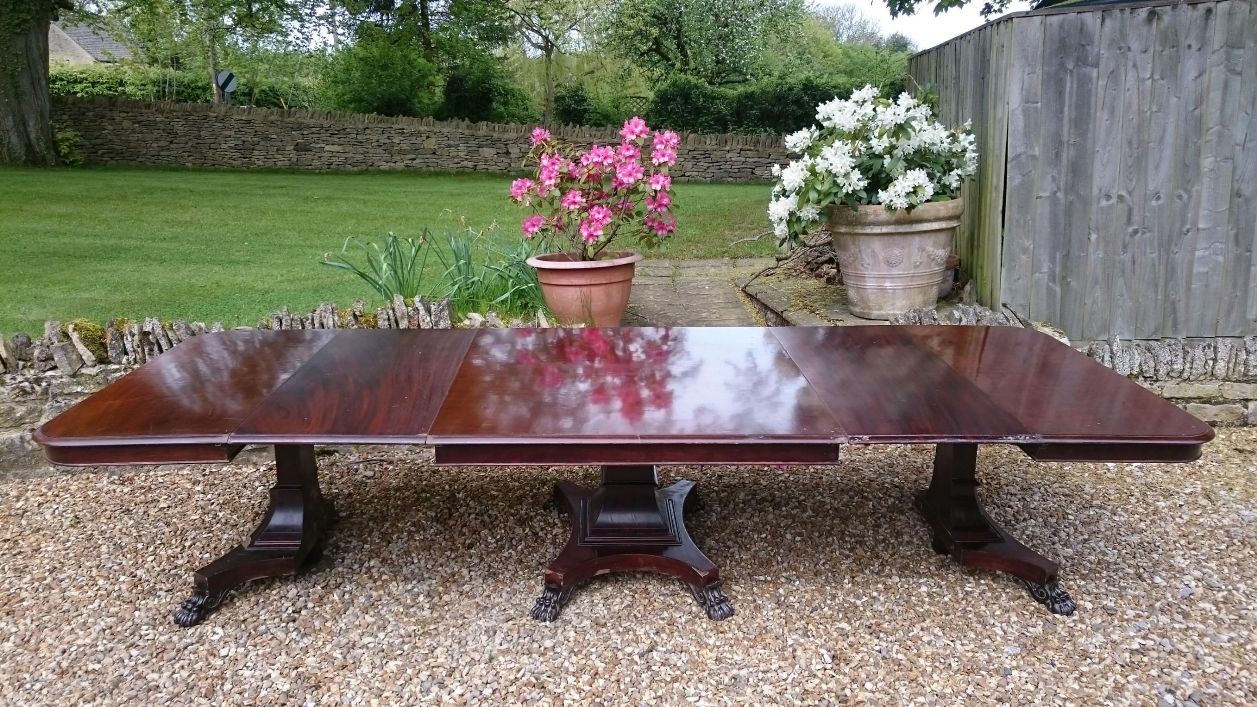 19th century antique three pedestal dining table