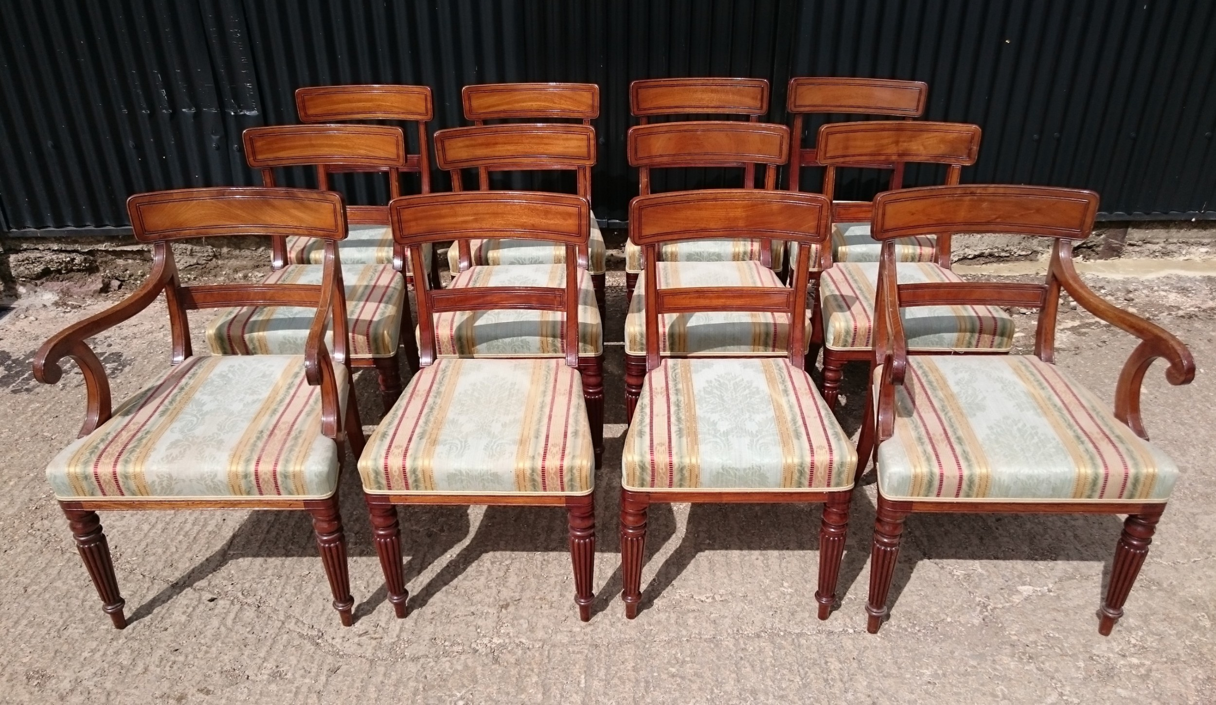 early 19th century regency set of twelve mahogany antique dining chairs