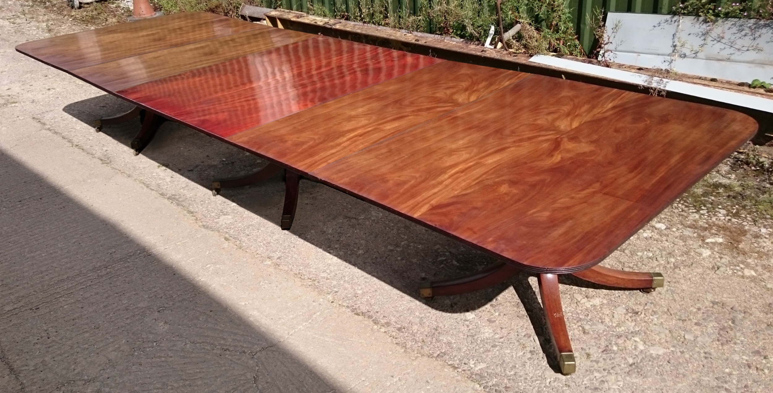 large scale early 19th century george iii period mahogany antique three pedestal dining table