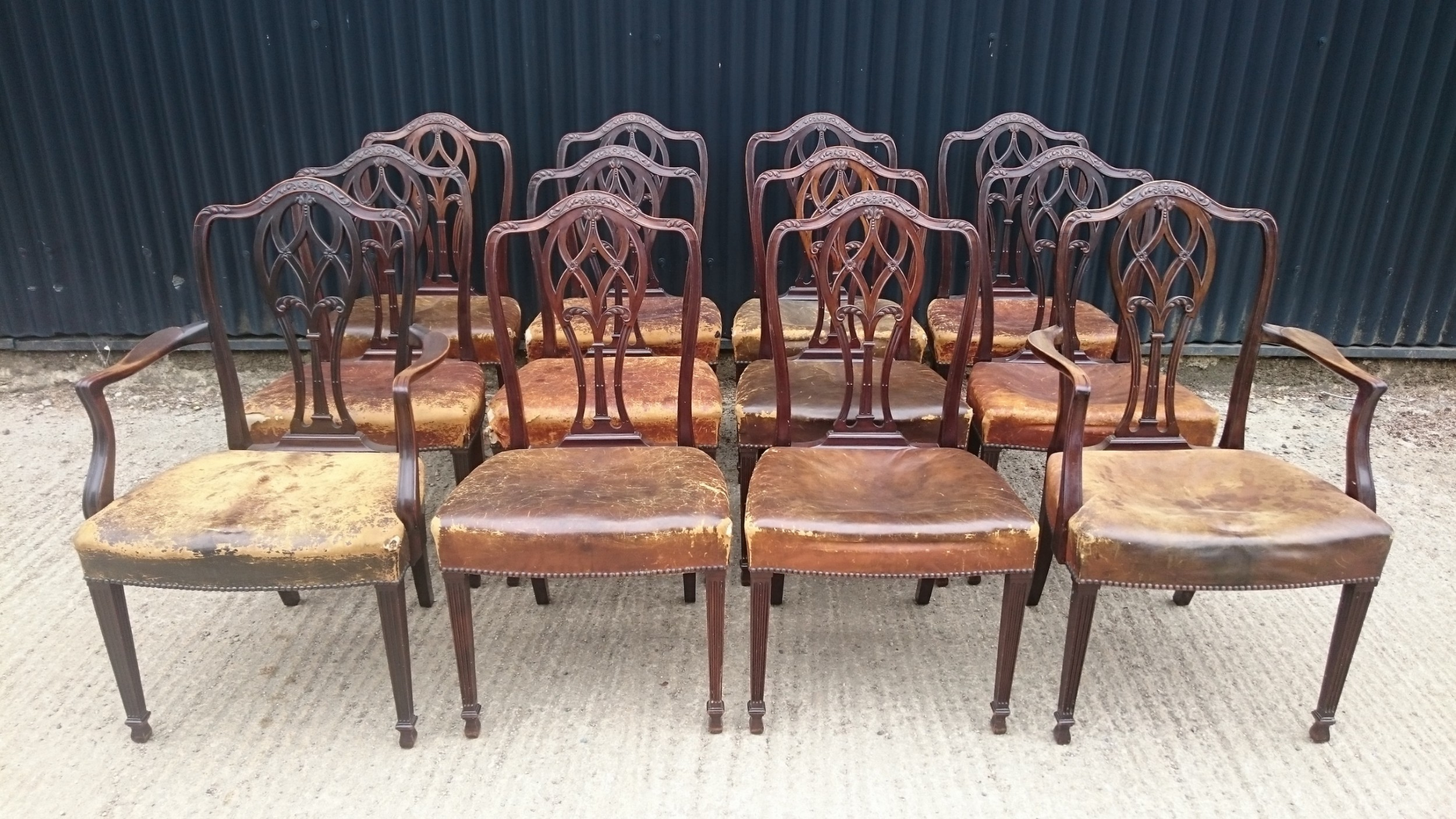 set of twelve mahogany antique dining chairs