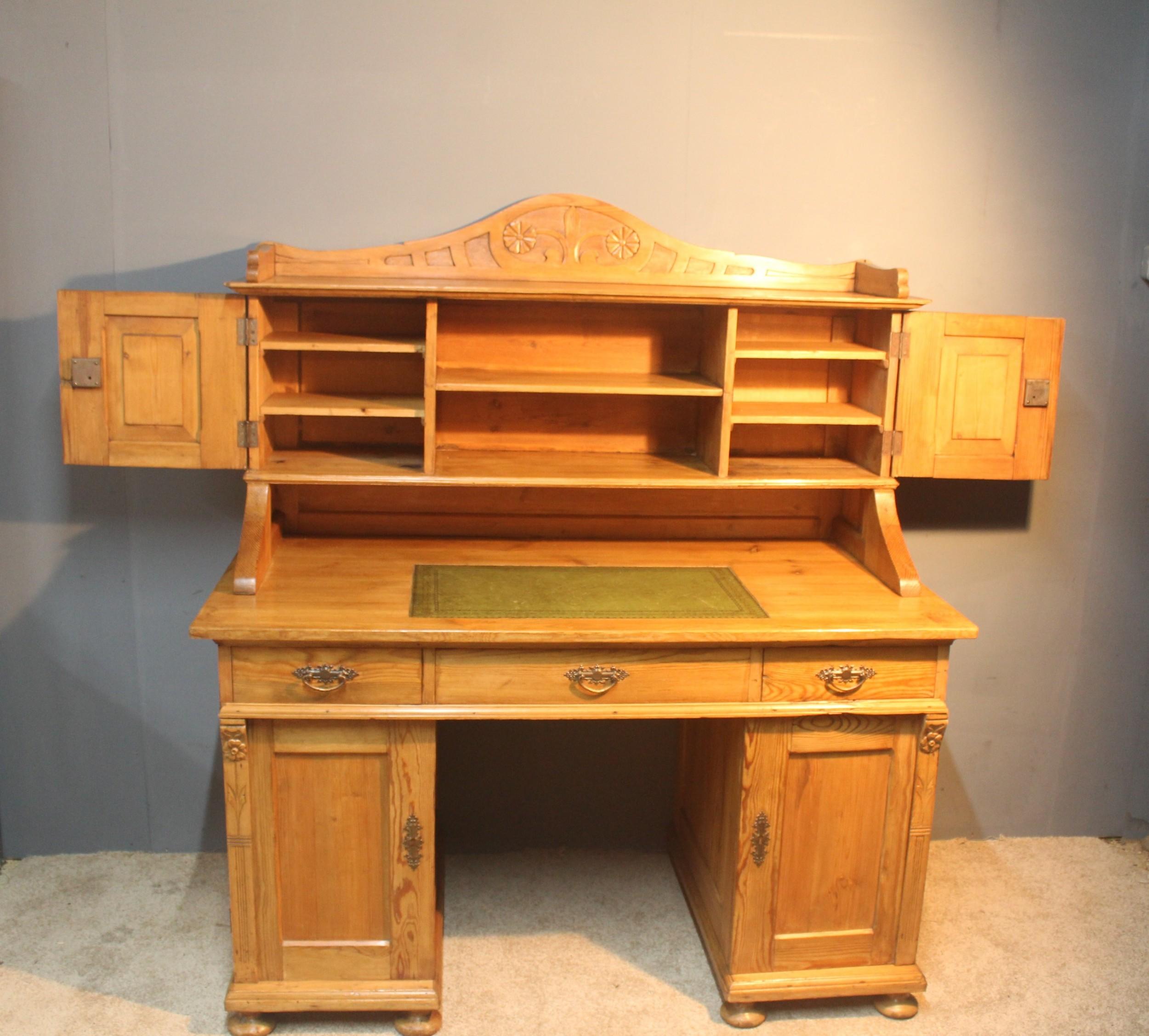 original antique german grnderzeit pedestal desk in pine circa 1880