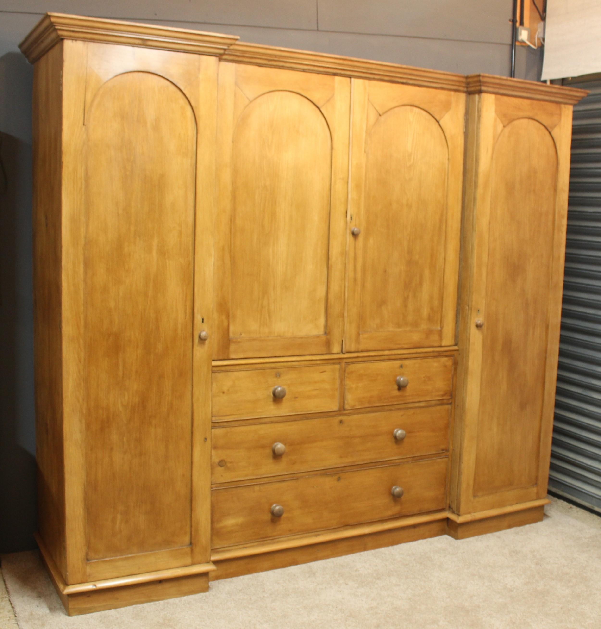 english antique pine compactum breakfront linen press wardrobe