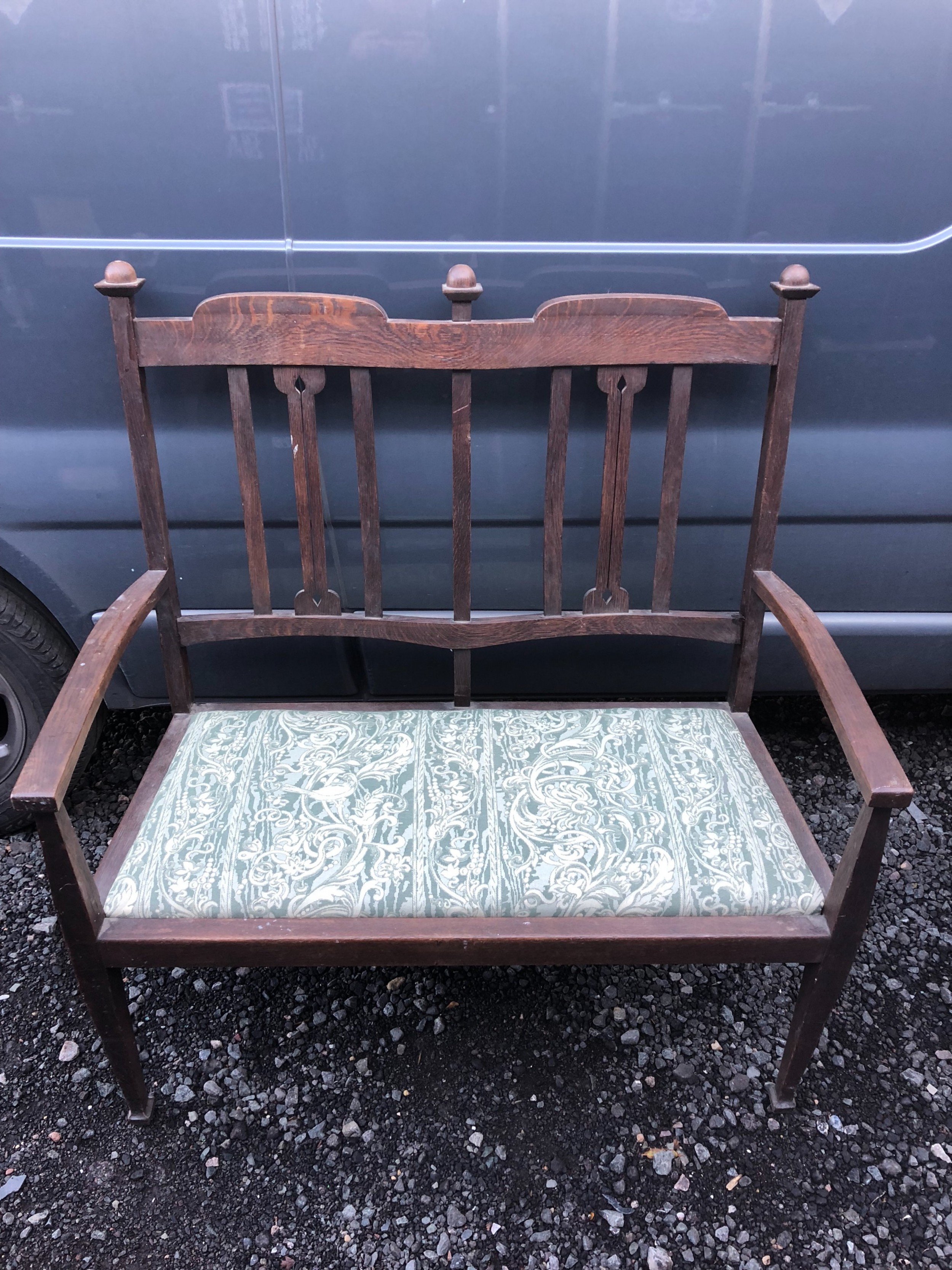 arts and crafts oak settee
