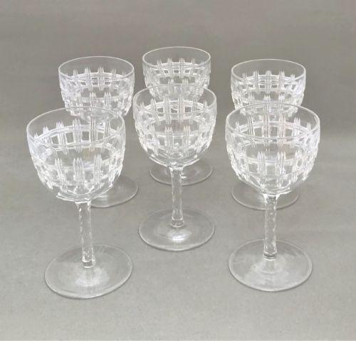 a gorgeous set of 6 victorian cut dessert wine glasses