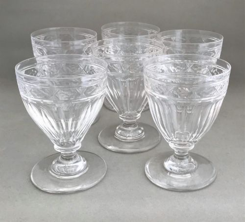 a superb set of 6 victorian cut glass rummers