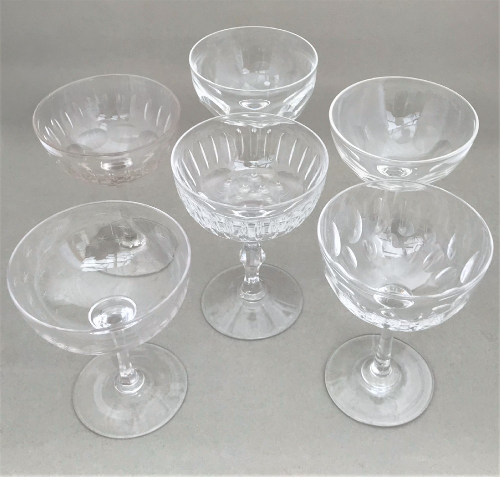 a harlequin set of 6 victorian champagne bowls