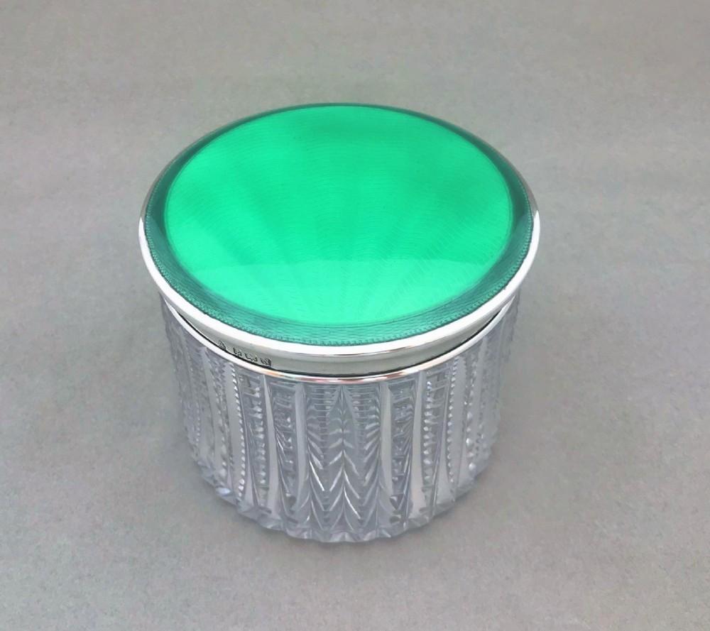a fabulous large silver guilloche enamel dressing table jar