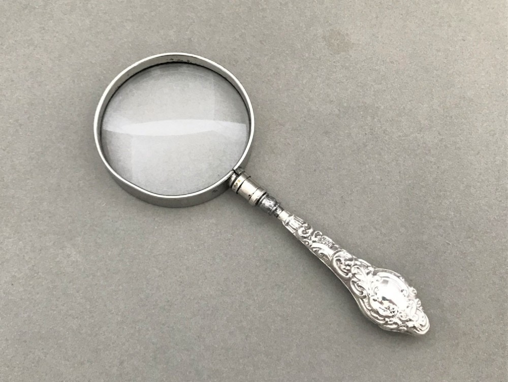 an edwardian chester silver handled magnifying glass