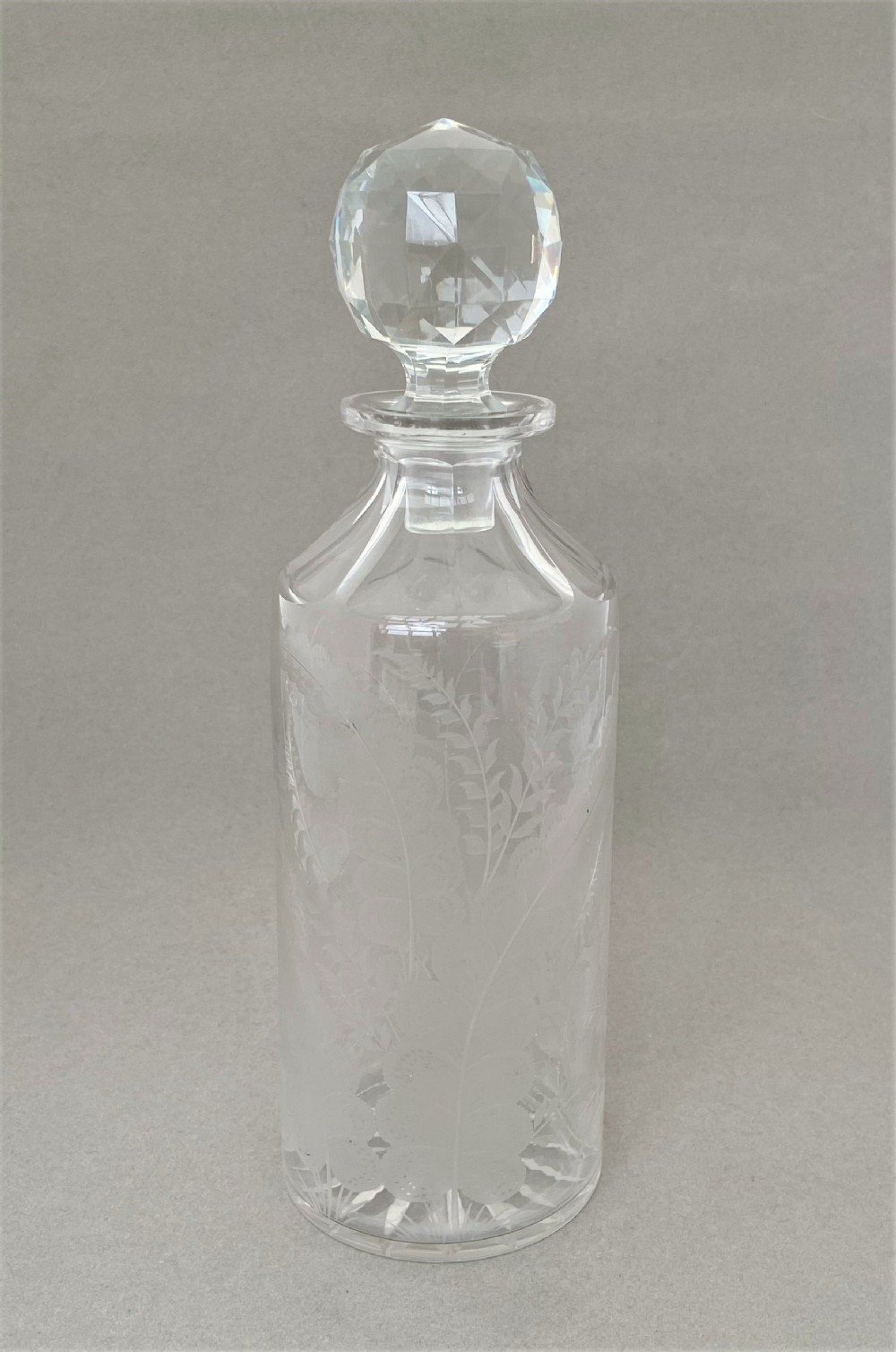 a handsome victorian etched decanter
