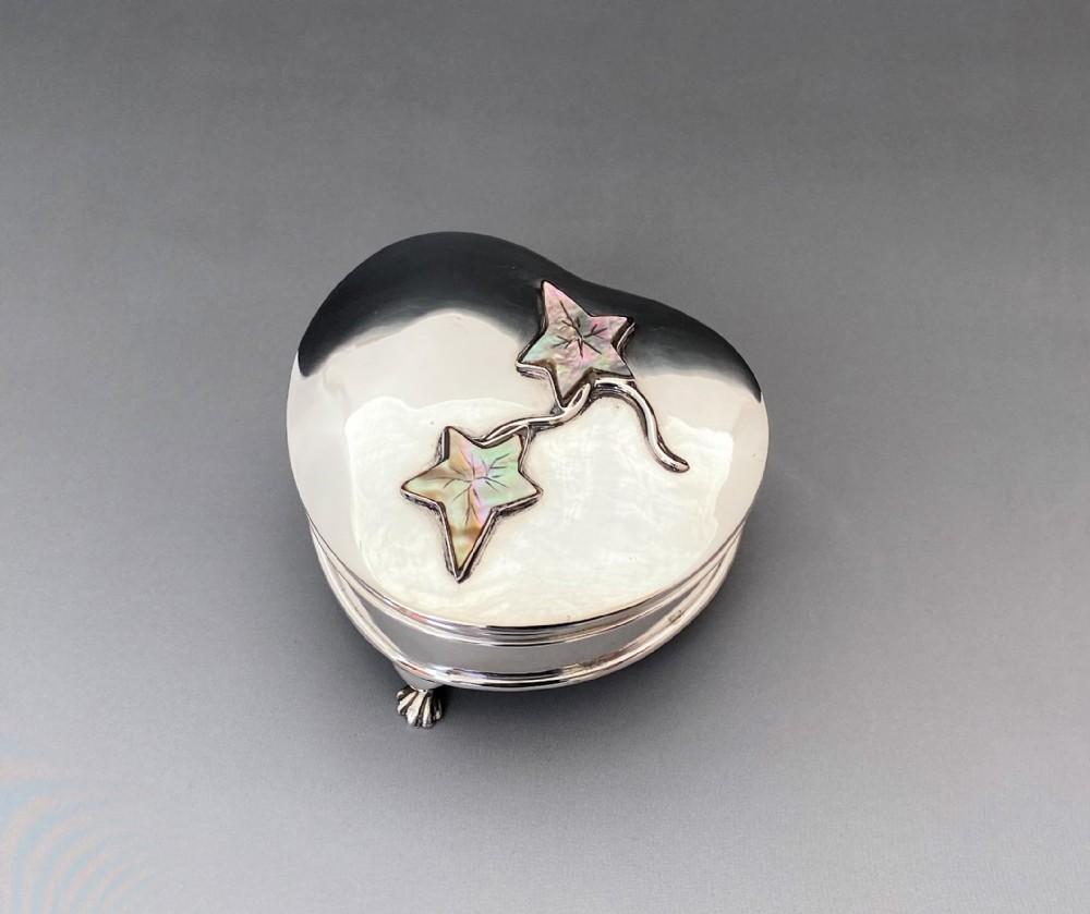 a superb edwardian heart shaped silver motherofpearl trinket box