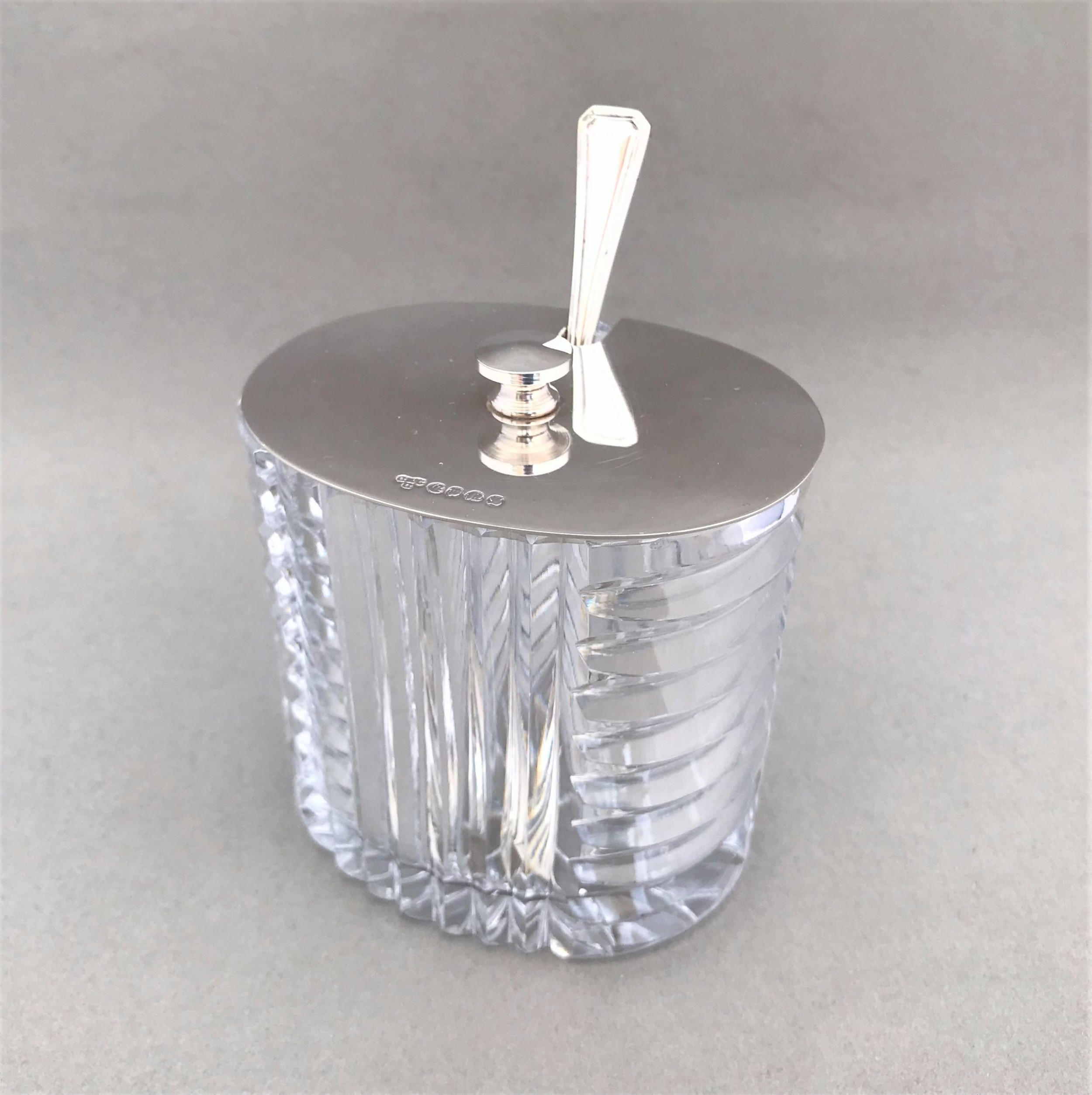 a superb art deco silver plated glass preserve jar and spoon