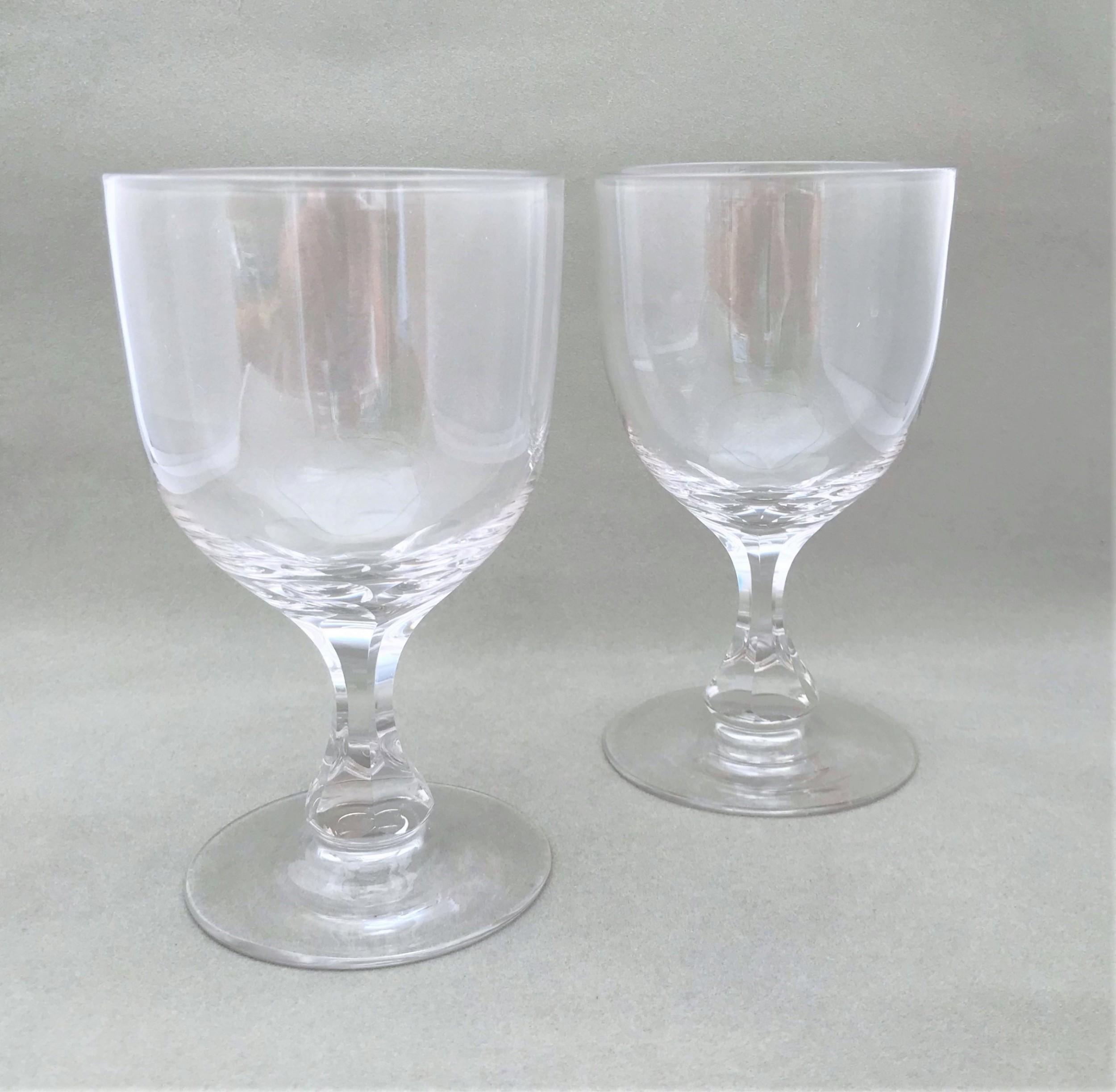 a large pair of victorian cut glass wine goblets