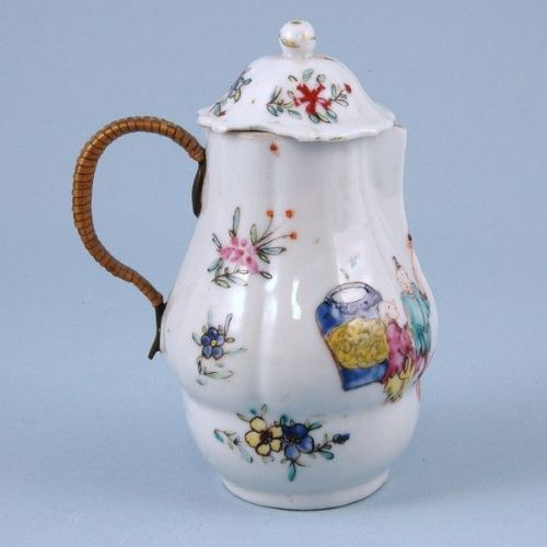 18th century chinese export porcelain hot water jug and cover