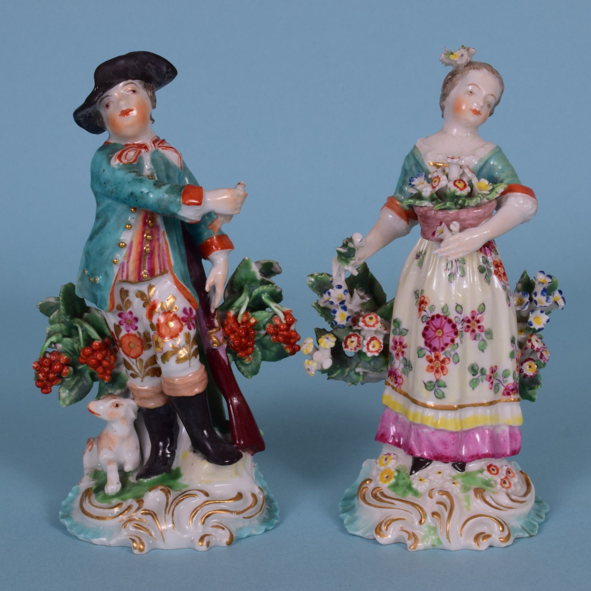 an attractive pair of 18th century derby porcelain small figures of seasons