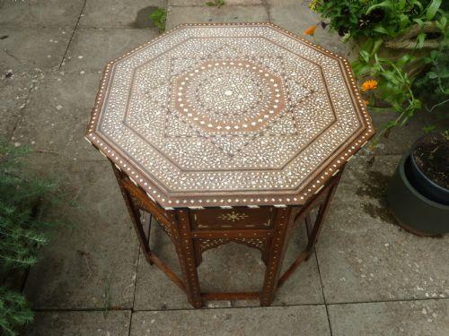 Anglo Indian Sandalwood Bone Inlaid Folding Octagonal Star Table Moorish Antique 701515 Sellingantiques Co Uk
