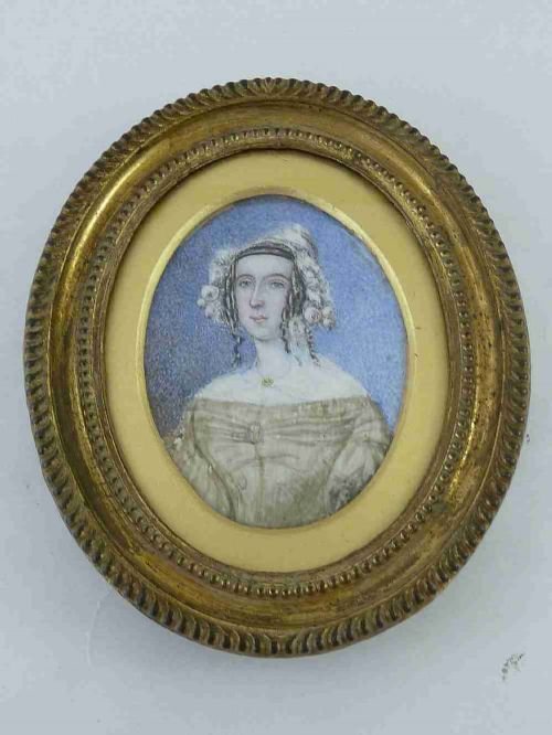 1830 naive portrait miniature lady ringlets cap gilt brass frame georgian