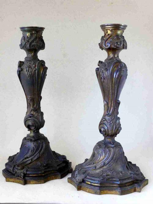 large ormolu louis xv rococo gilt bronze candlesticks pair