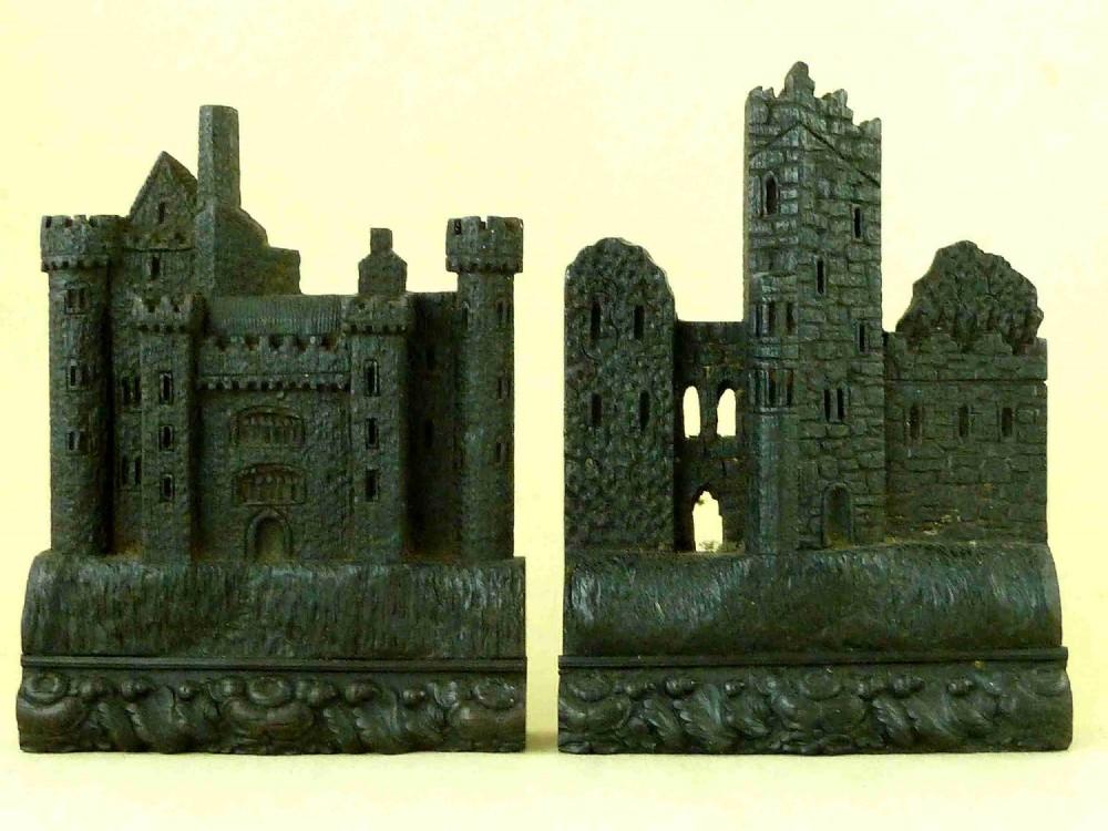 rare irish killarney carved bog oak malahide blarney castle book ends dublin ireland