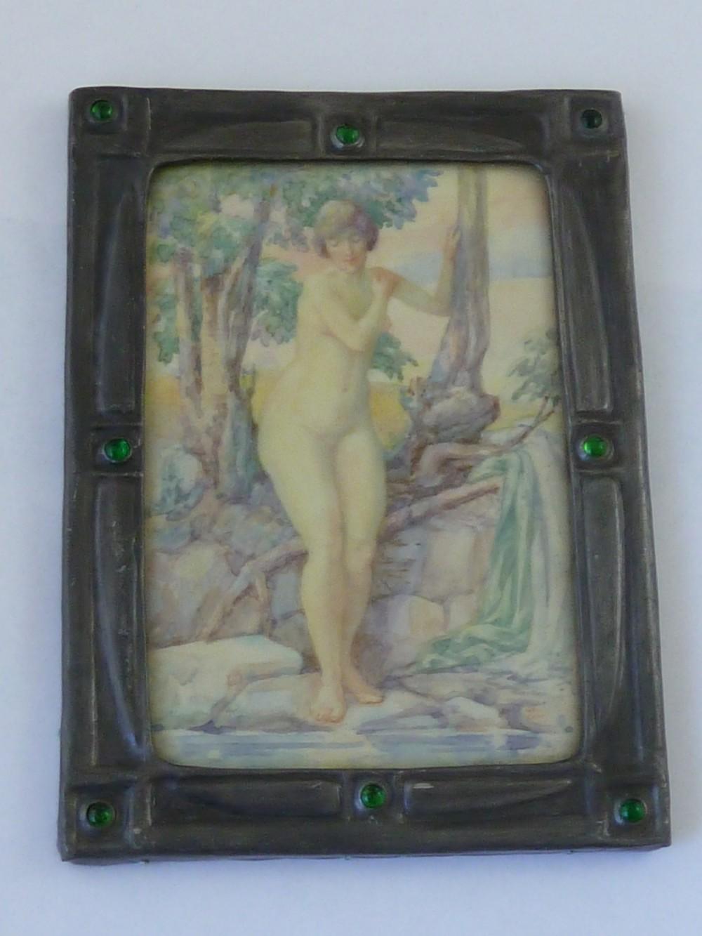 art deco signed naiad hand painted miniature nude 1927