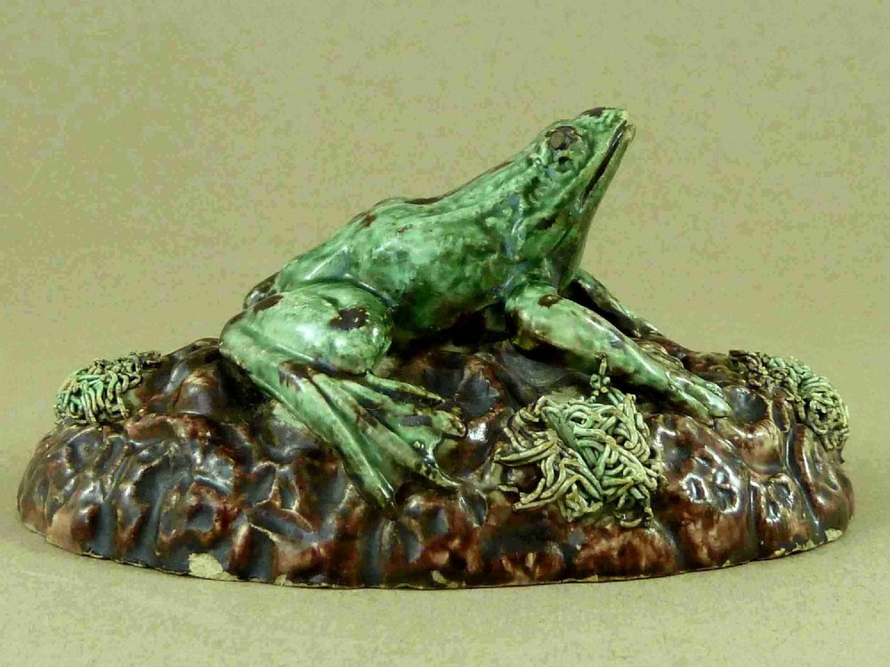 rare palissy style majolica frog portuguese unmarked pottery cunha mafra