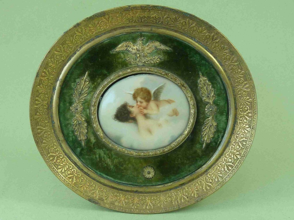 miniature hand painted porcelain plaque cherub kissing cupid psyche nude antique french edwardian