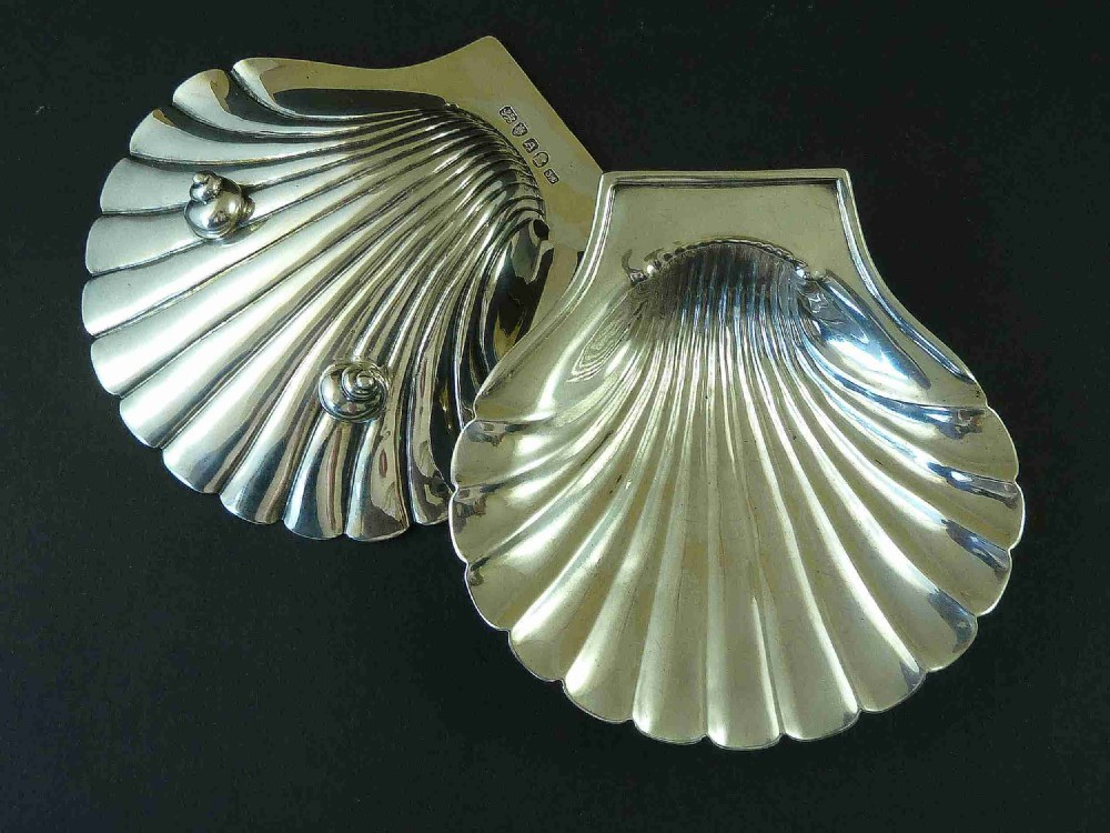 georgian butter shells 1796 english sterling silver scallop dishes