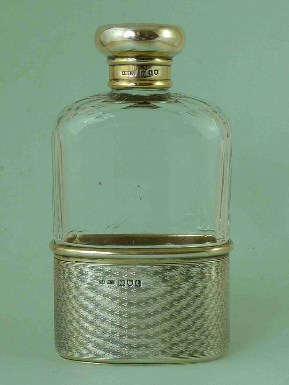 asprey sterling silver gilt hip flask london 1914 george v