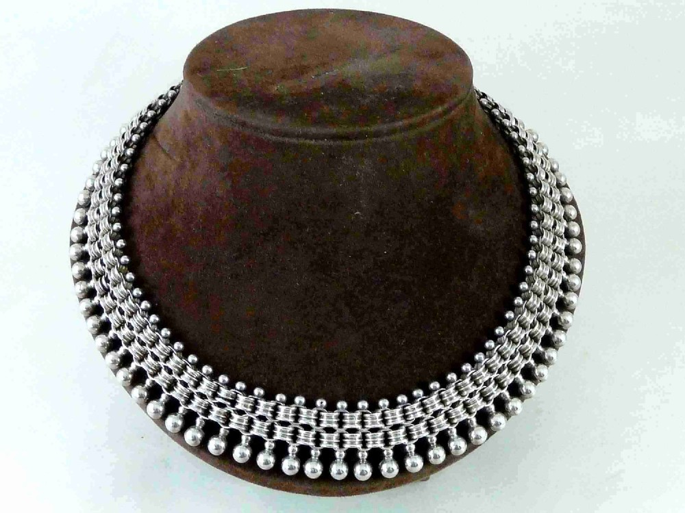 victorian solid silver collar link chain fringe necklace bead clasp sterling