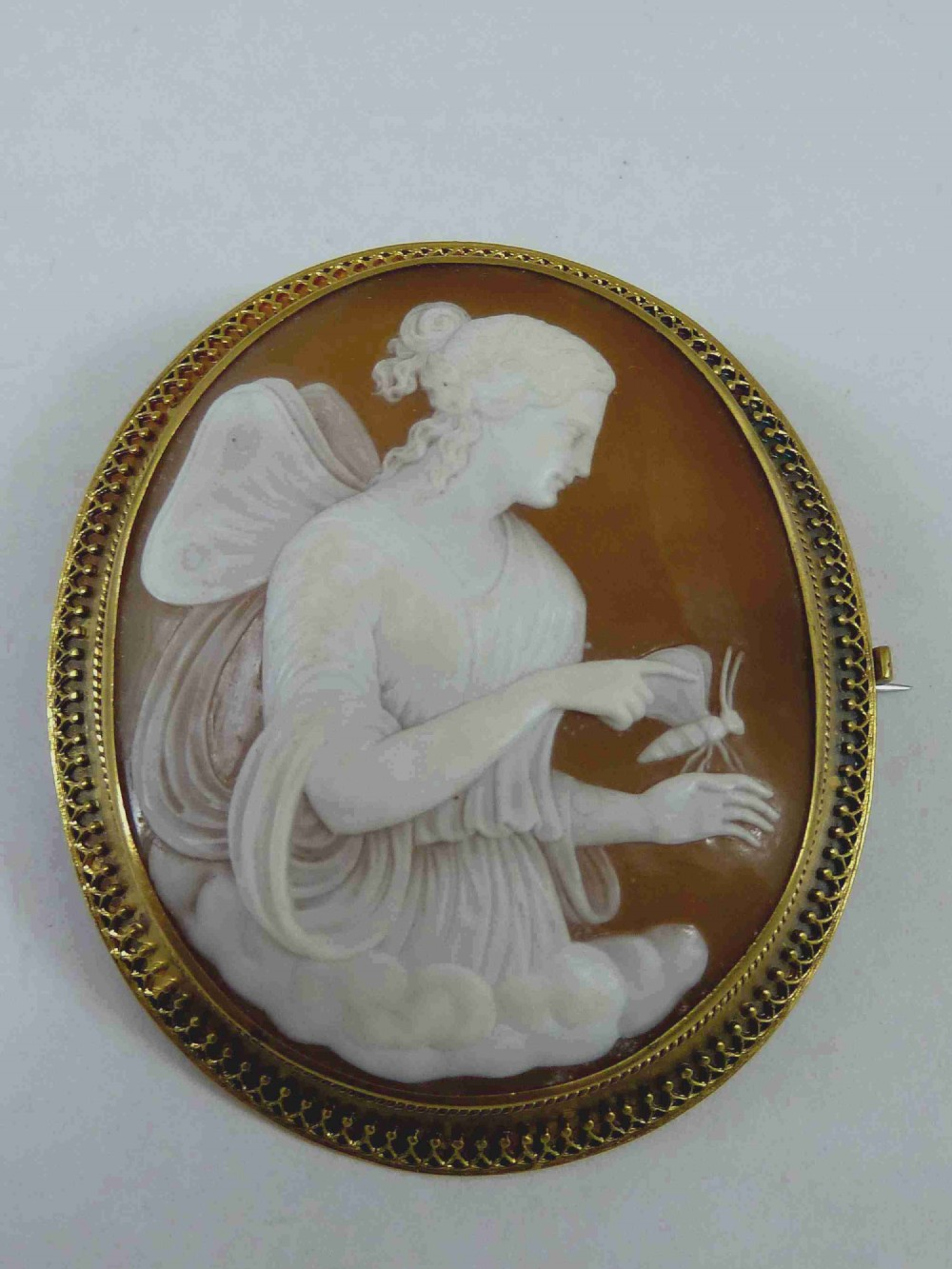 classical winged lady psyche cameo brooch pin gold frame carved shell italian