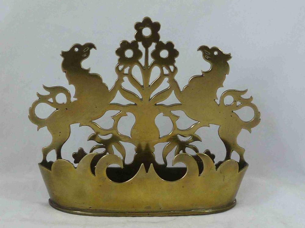 victorian cast sheet brass griffin gryphon wall pocket