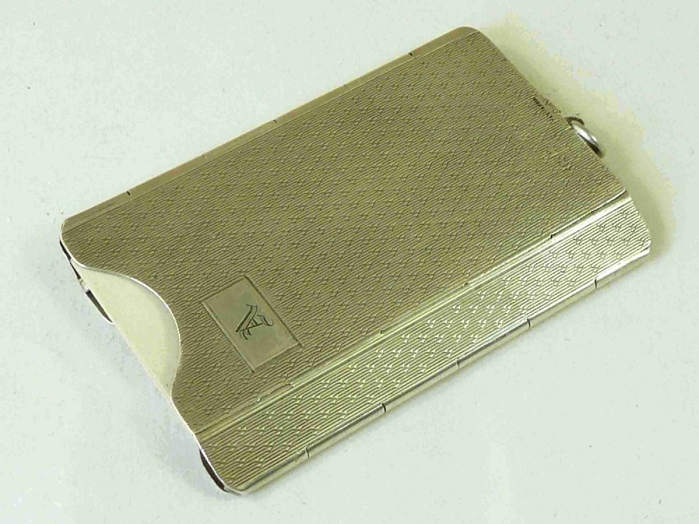 solid silver spring clip novelty folding card case hallmarked 1929