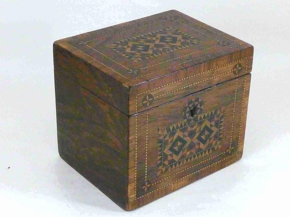 victorian tunbridge ware rosewood mosaic tea caddy box english