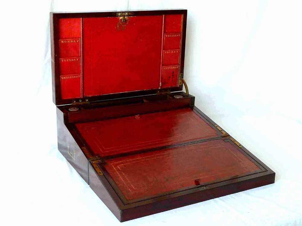 victorian writing slope letter rack double opening portable desk mahogany
