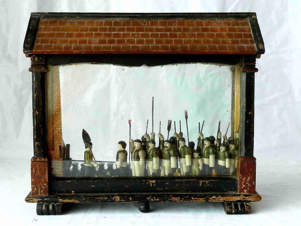 welsh model copper smelting furnace foundry works diorama folk art victorian