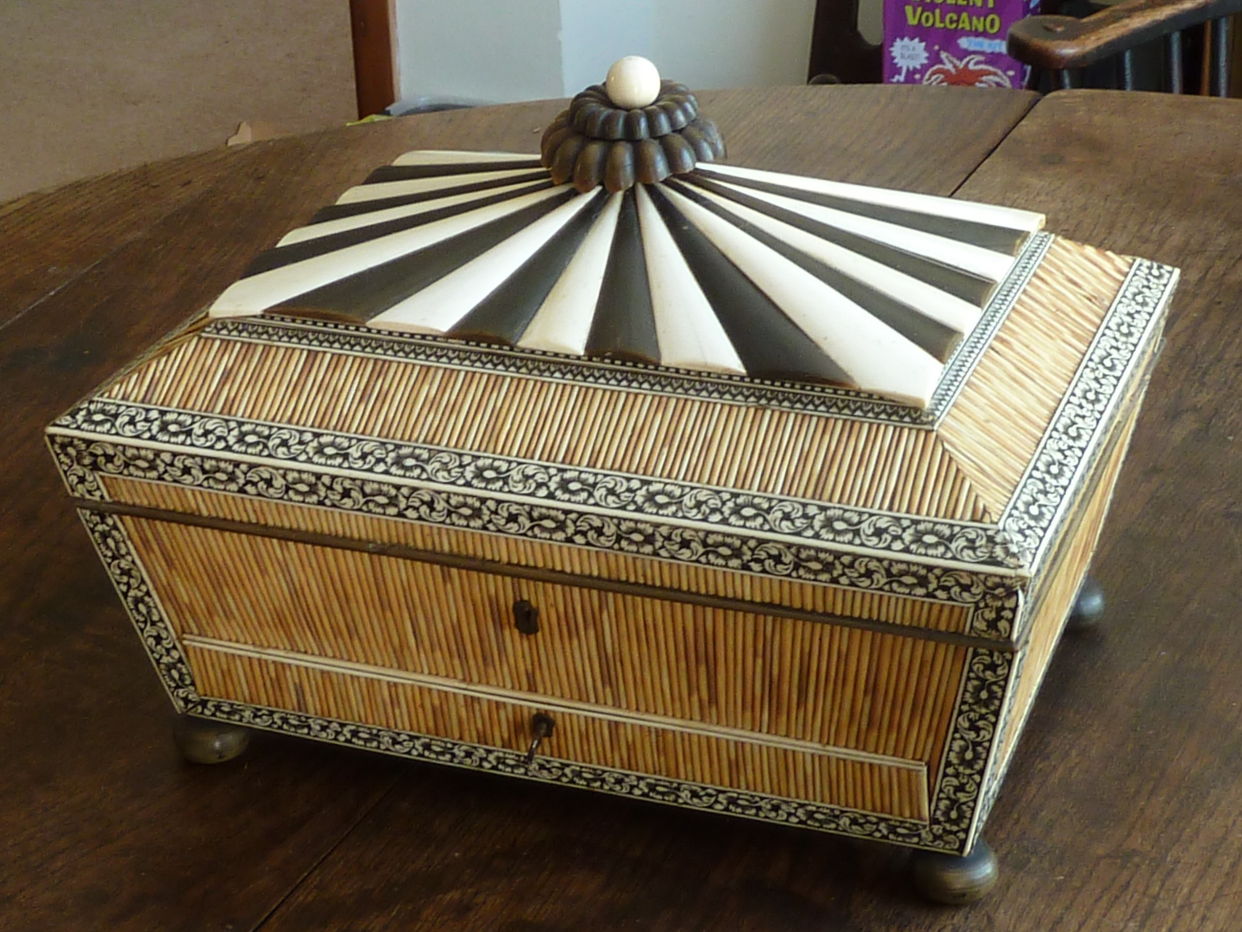 anglo indian sewing box quill work horn ivory vizagapatam sandalwood