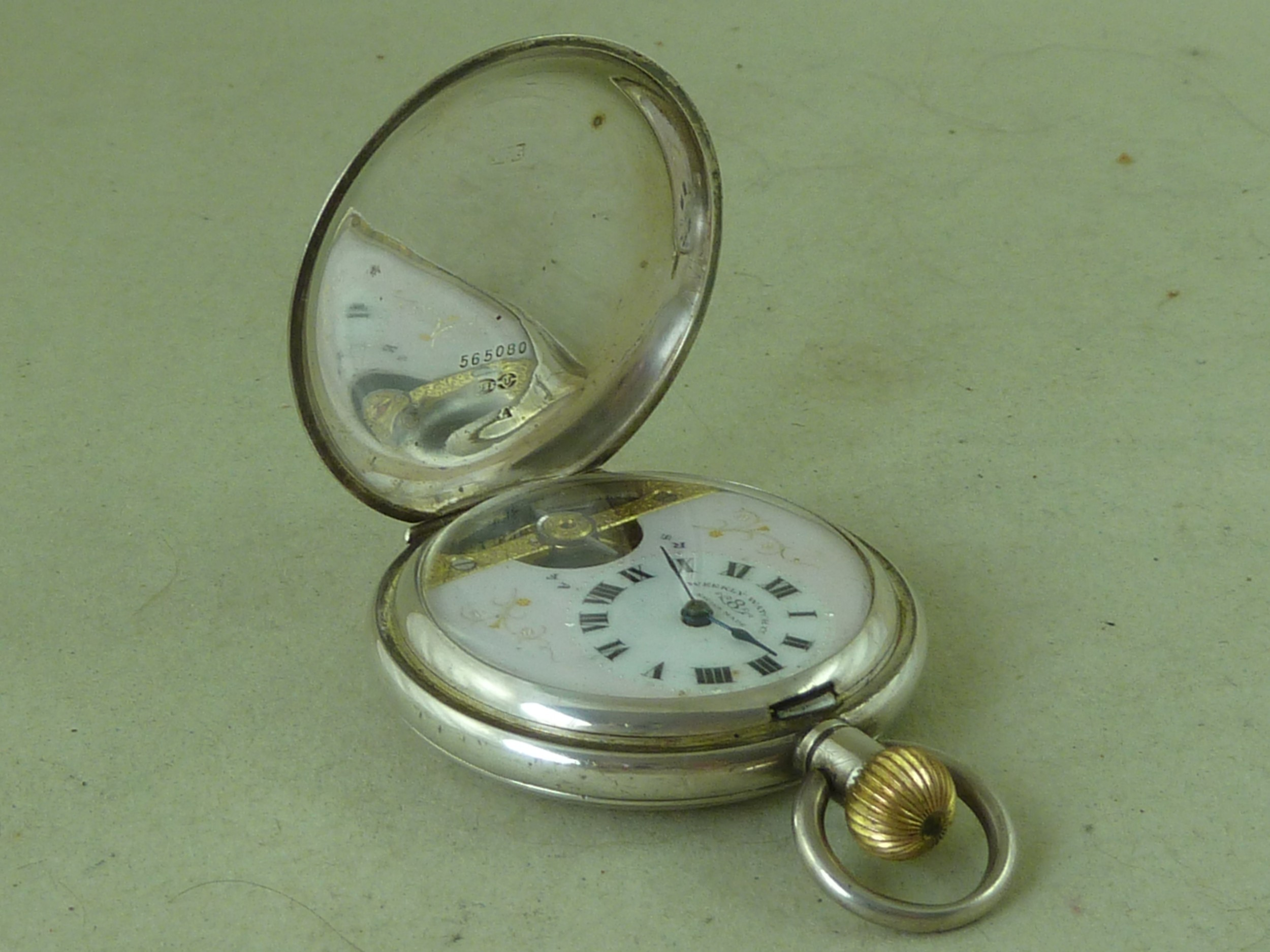 swiss 8 day visible escapement full hunter pocket watch 925 sterling silver london 1915 hebdomas weekly watch co