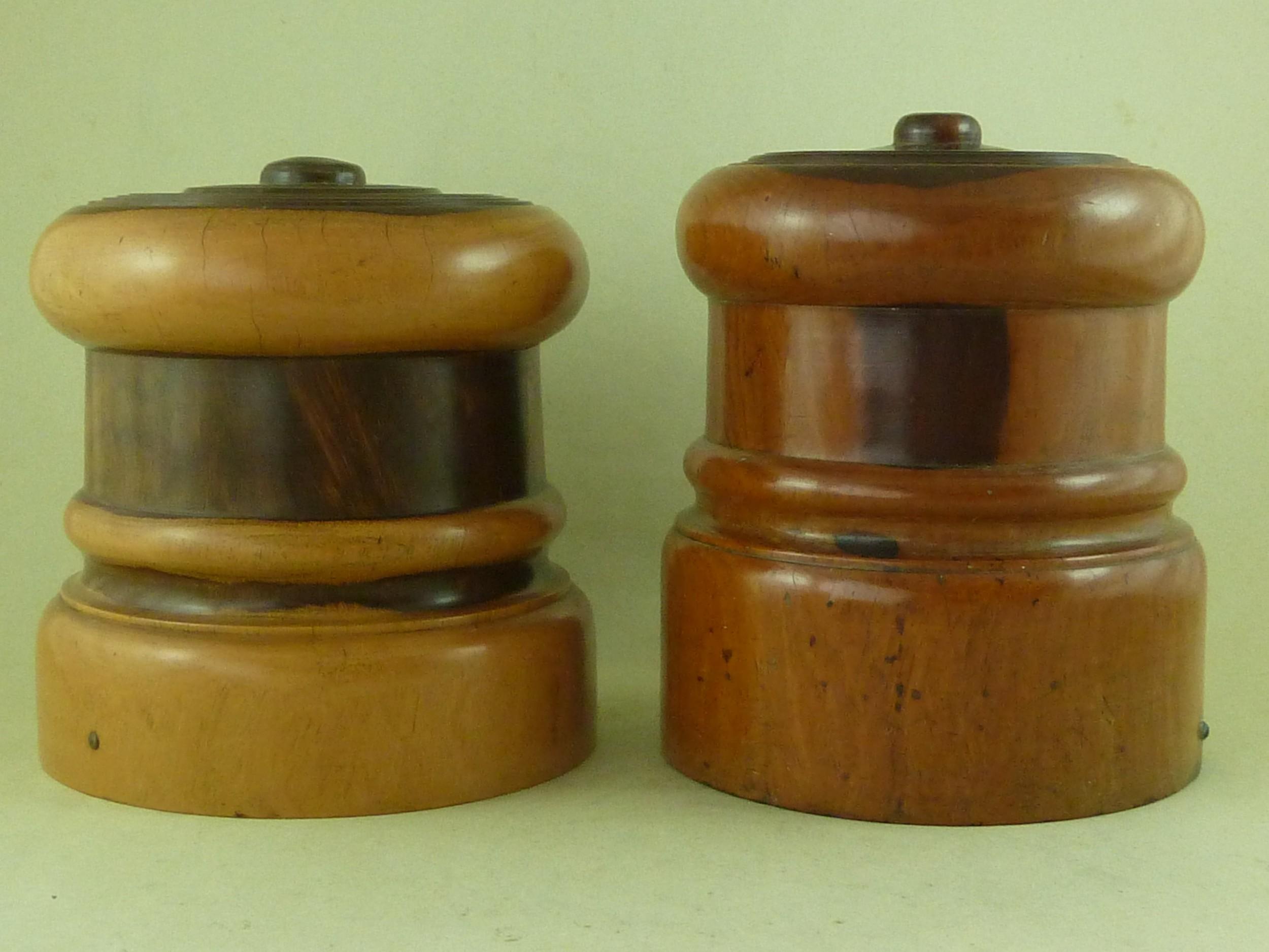 large turned lignum vitae string holder dispenser barrel treen near pair