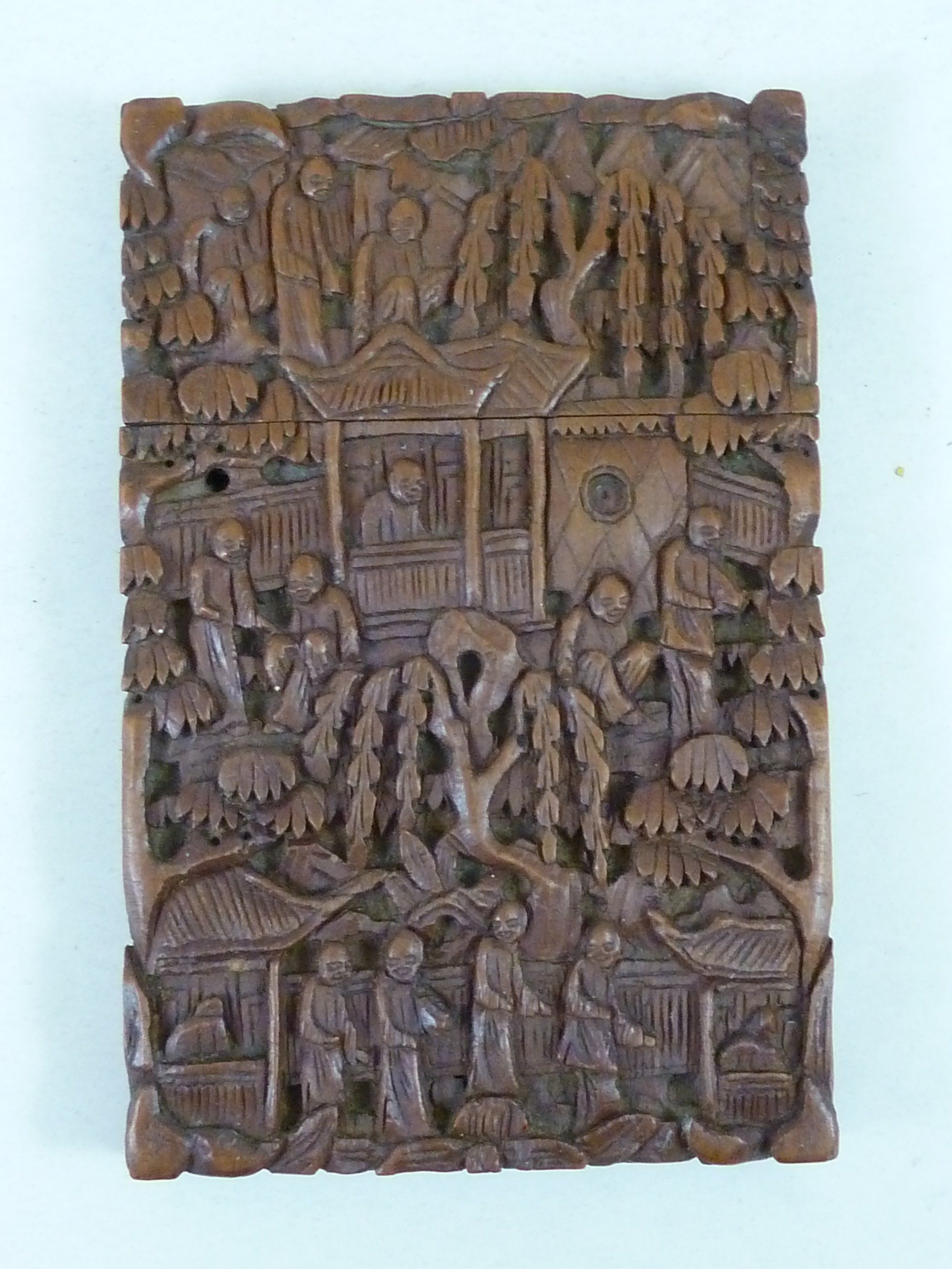chinese visiting card case carved sandalwood cantonese export antique