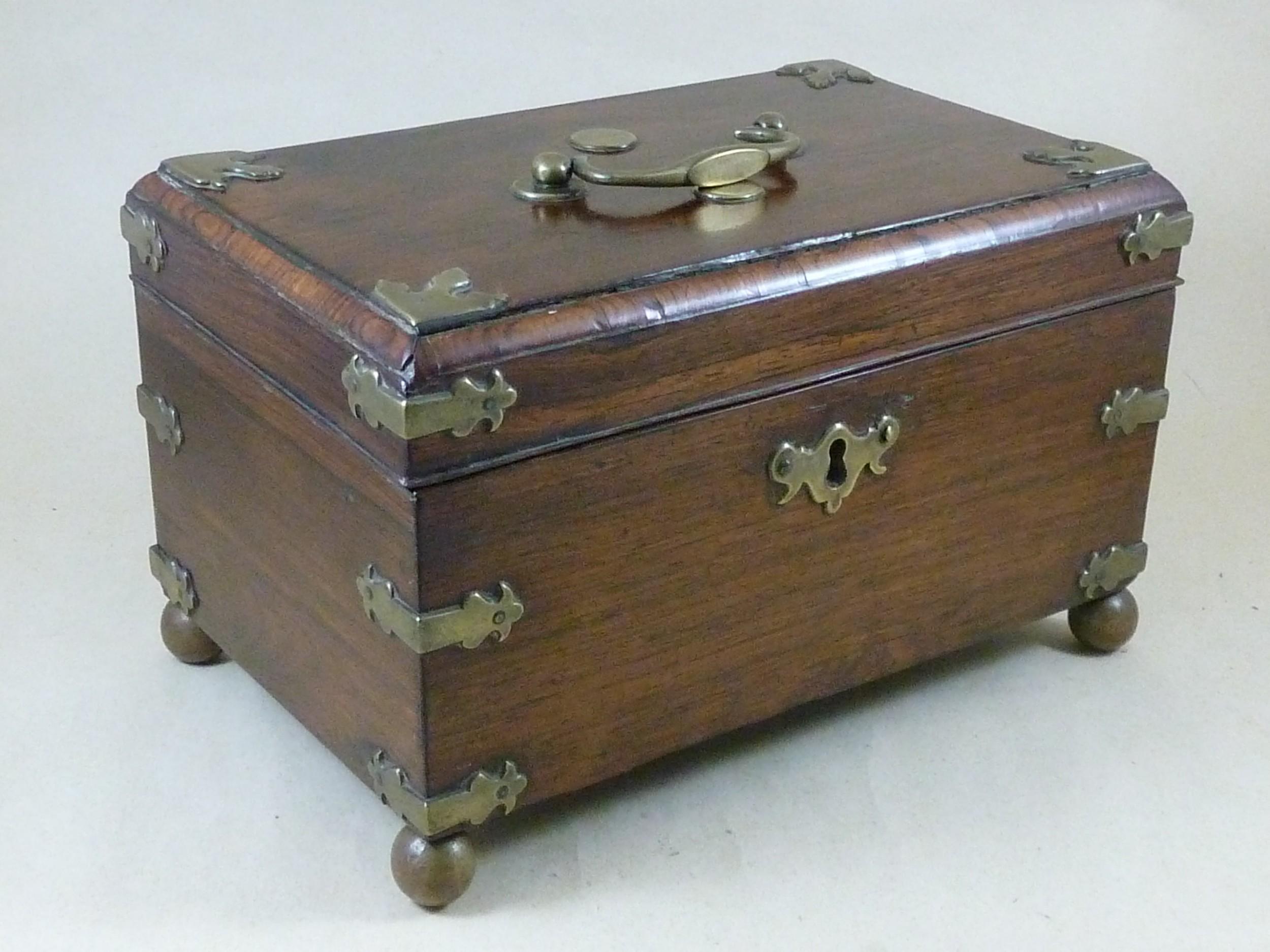 anglo chinese padauk wood brass mounted tea caddy 1770 china
