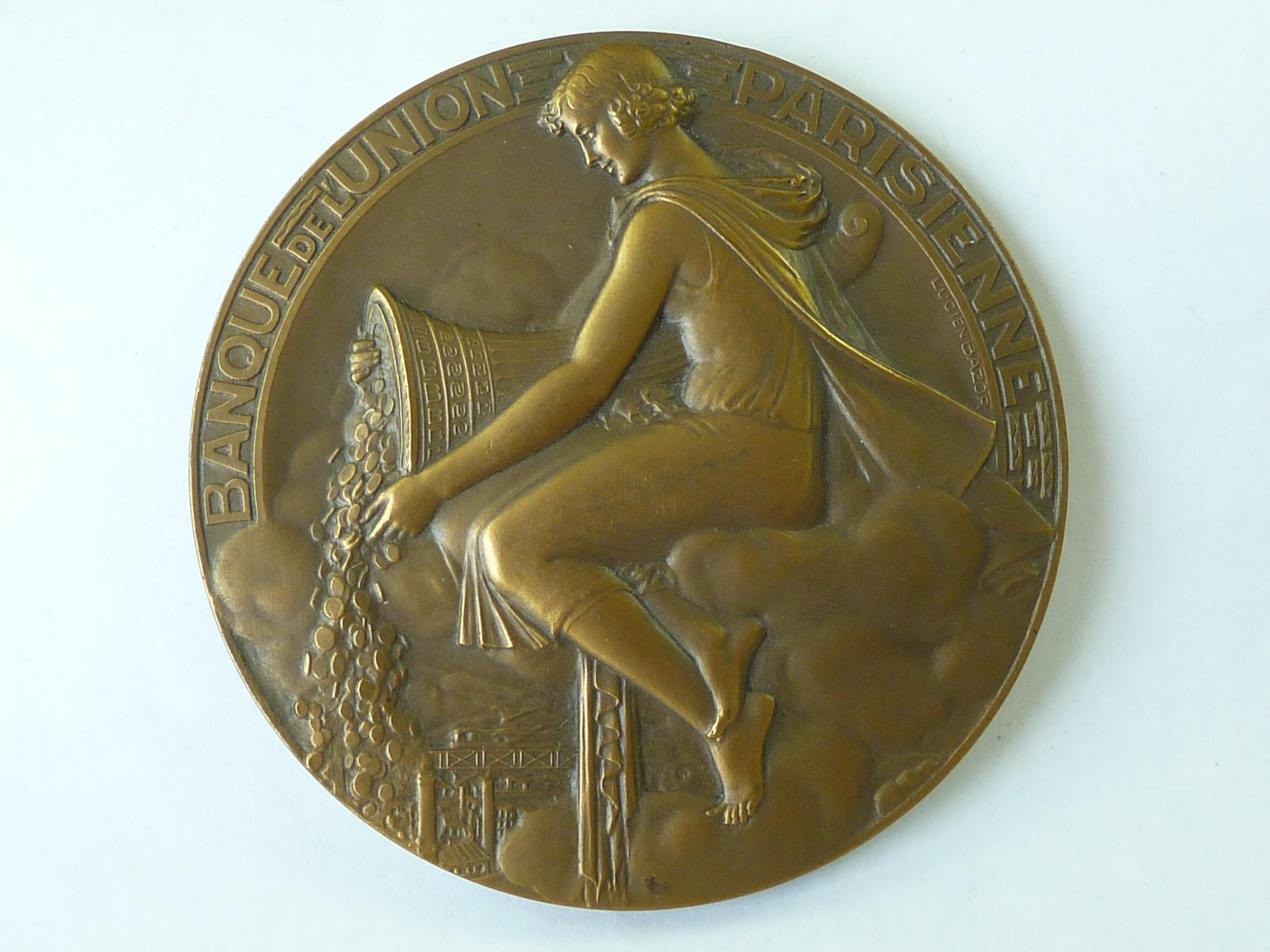 art deco banque de l'union parisienne large french medal medallion lucien bazor