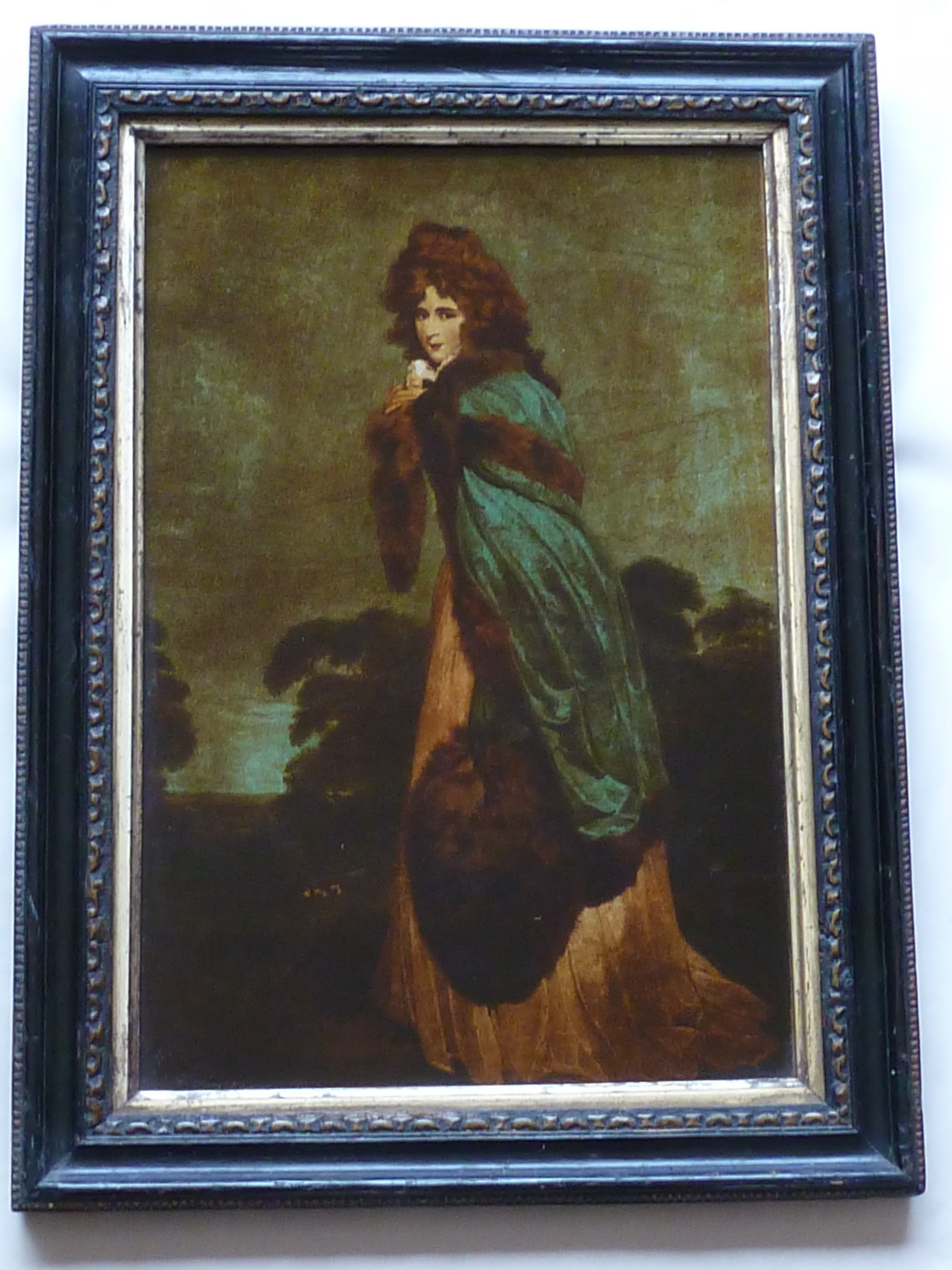 georgian reverse glass painted print elizabeth farren portrait lady irish