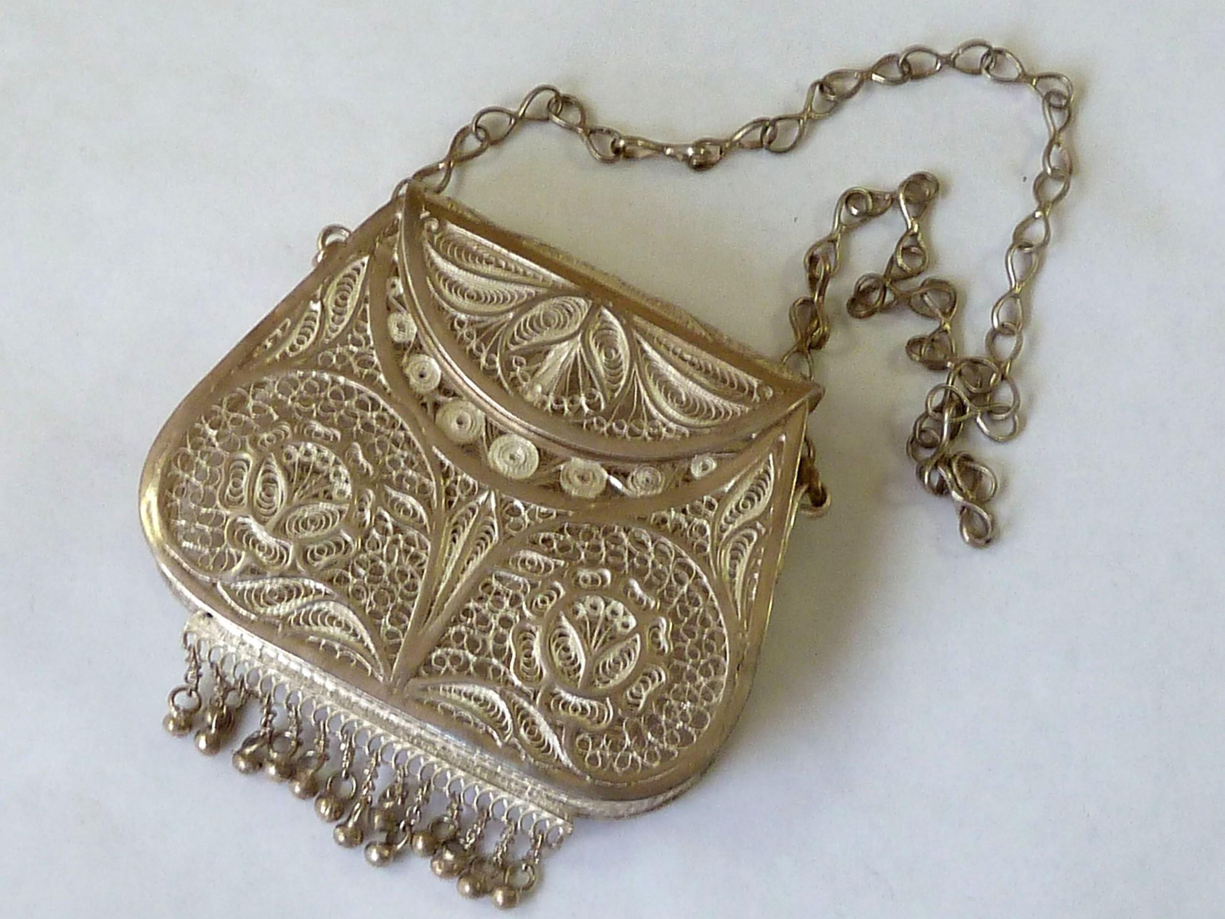 silver filigree purse bag sterling chain victorian