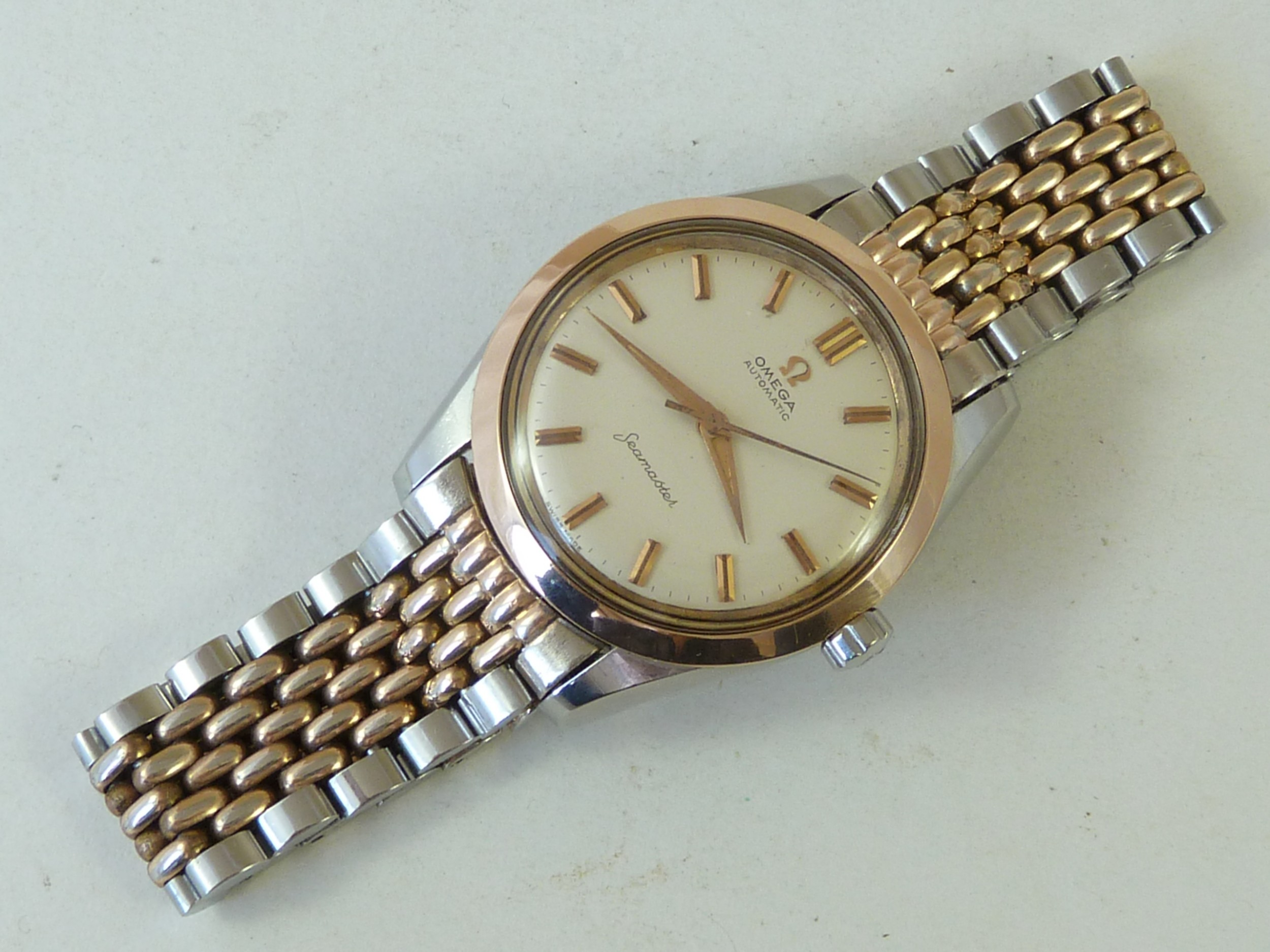 omega seamaster automatic rose gold stainless steel rice bead bracelet watch boxed