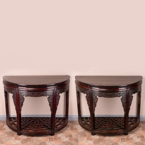 pair of 19th century chinese demi lune console tables