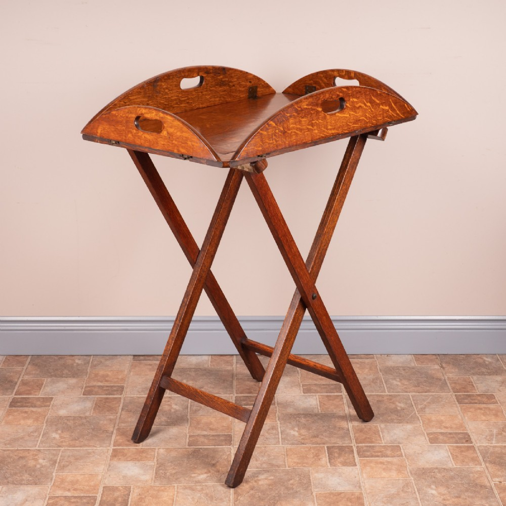 19thc oak butlers tray stand