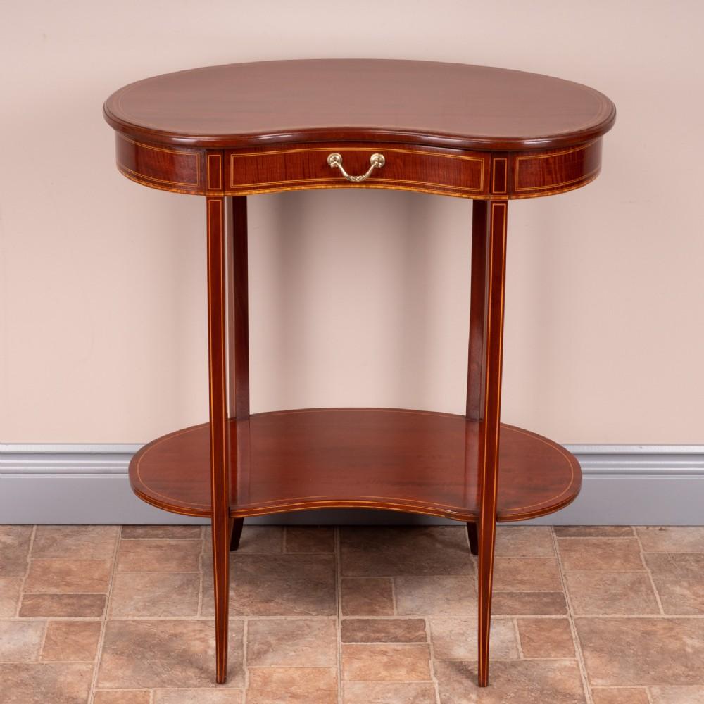 edwardian inlaid mahogany kidney shaped occasional table